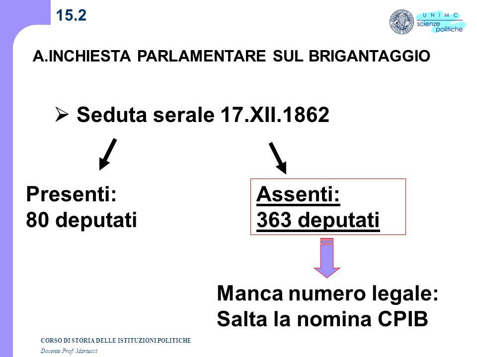 CORSO DI STORIA DELLE ISTITUZIONI POLITICHE Docente Prof. Martucci 15.2 A.INCHIESTA PARLAMENTARE SUL BRIGANTAGGIO Seduta serale 17.XII.1862 Presenti: