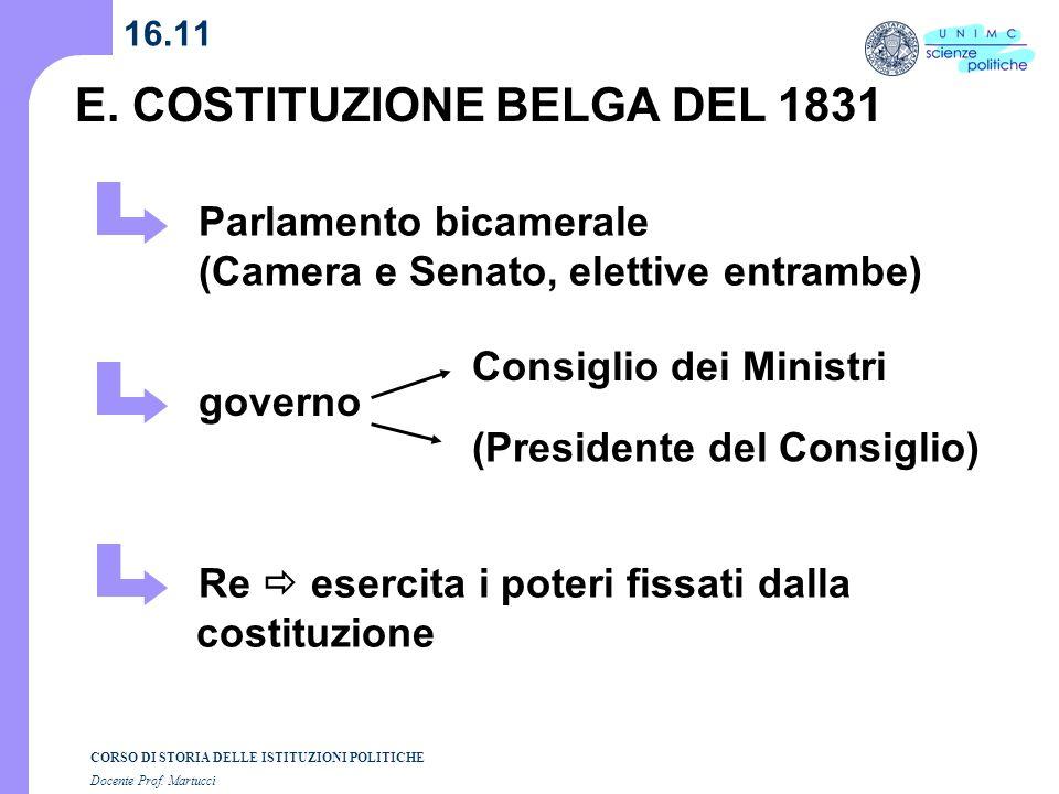 CORSO DI STORIA DELLE ISTITUZIONI POLITICHE Docente Prof. Martucci 16.11 E. COSTITUZIONE BELGA DEL 1831 Parlamento bicamerale (Camera e Senato, eletti