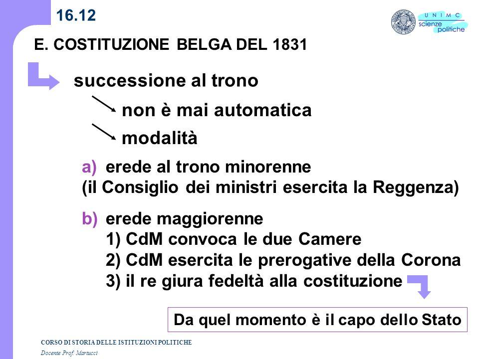 CORSO DI STORIA DELLE ISTITUZIONI POLITICHE Docente Prof. Martucci 16.12 E. COSTITUZIONE BELGA DEL 1831 successione al trono non è mai automatica moda