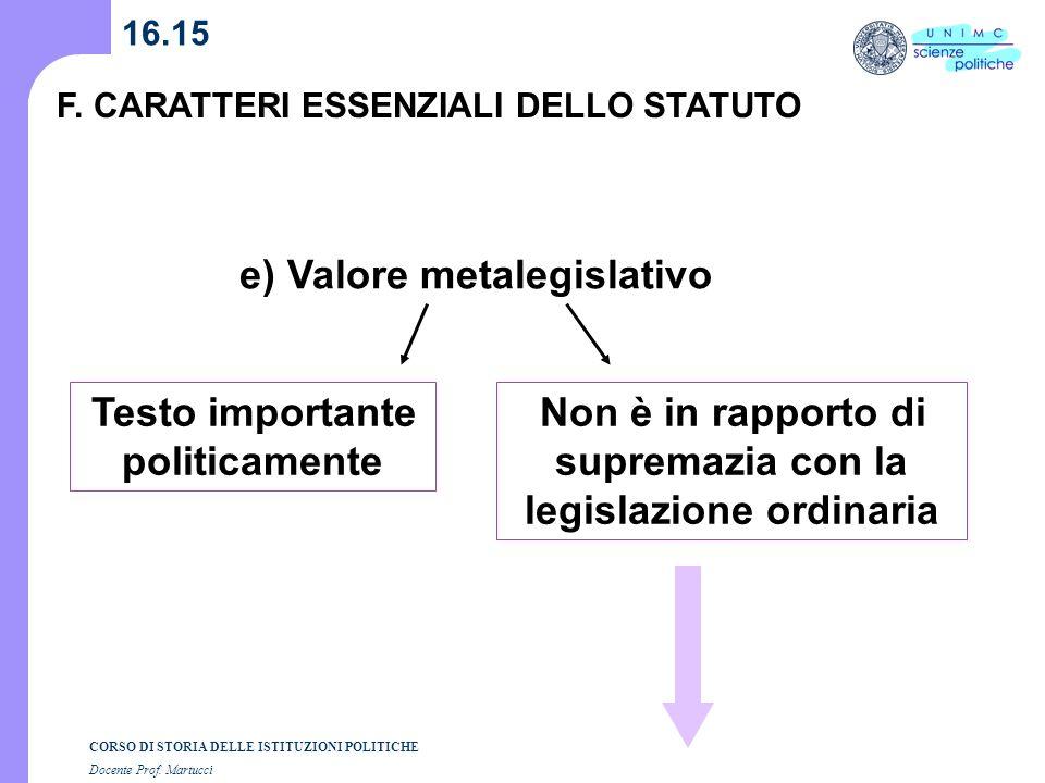 CORSO DI STORIA DELLE ISTITUZIONI POLITICHE Docente Prof. Martucci 16.15 F. CARATTERI ESSENZIALI DELLO STATUTO e) Valore metalegislativo Non è in rapp