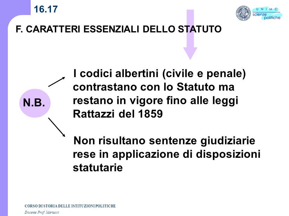 CORSO DI STORIA DELLE ISTITUZIONI POLITICHE Docente Prof. Martucci 16.17 I codici albertini (civile e penale) contrastano con lo Statuto ma restano in