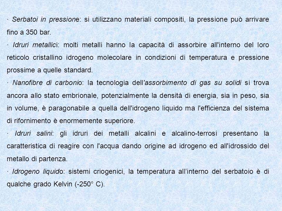 · Serbatoi in pressione: si utilizzano materiali compositi, la pressione può arrivare fino a 350 bar.