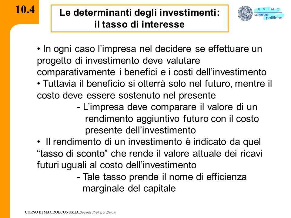 CORSO DI MACROECONOMIA Docente Prof.ssa Bevolo 10.4 Le determinanti degli investimenti: il tasso di interesse In ogni caso limpresa nel decidere se ef