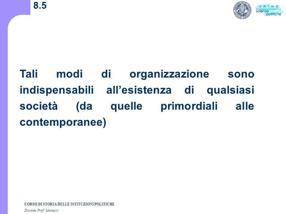 CORSO DI STORIA DELLE ISTITUZIONI POLITICHE Docente Prof. Martucci 8.5 Tali modi di organizzazione sono indispensabili allesistenza di qualsiasi socie