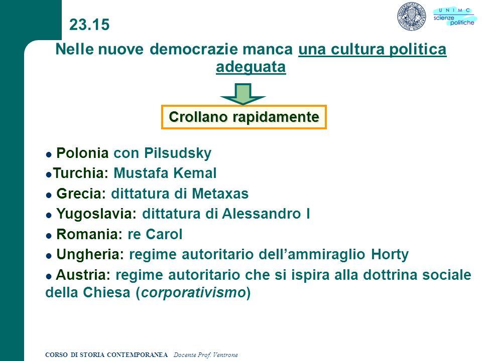 CORSO DI STORIA CONTEMPORANEA Docente Prof. Ventrone 23.15 Nelle nuove democrazie manca una cultura politica adeguata Crollano rapidamente Polonia con