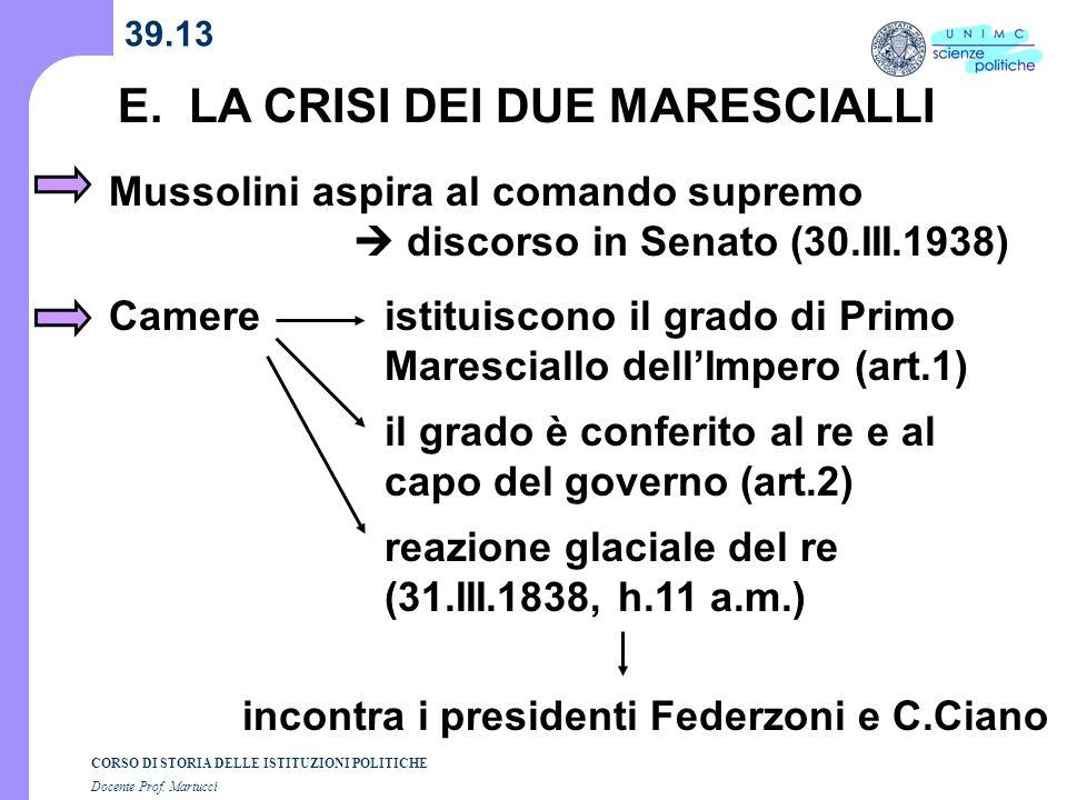 CORSO DI STORIA DELLE ISTITUZIONI POLITICHE Docente Prof. Martucci 39.13 E. LA CRISI DEI DUE MARESCIALLI Mussolini aspira al comando supremo discorso