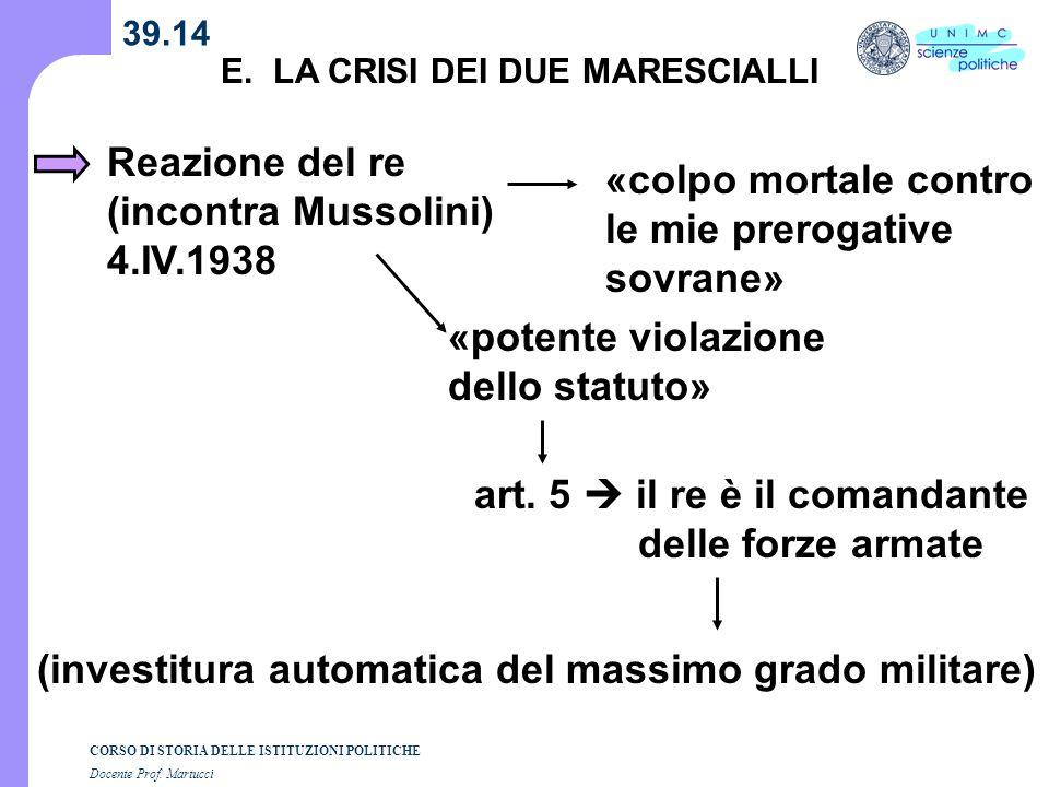 CORSO DI STORIA DELLE ISTITUZIONI POLITICHE Docente Prof. Martucci 39.14 E. LA CRISI DEI DUE MARESCIALLI Reazione del re (incontra Mussolini) 4.IV.193