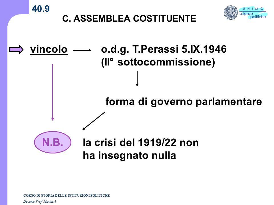 CORSO DI STORIA DELLE ISTITUZIONI POLITICHE Docente Prof. Martucci 40.9 C. ASSEMBLEA COSTITUENTE vincoloo.d.g. T.Perassi 5.IX.1946 (II° sottocommissio