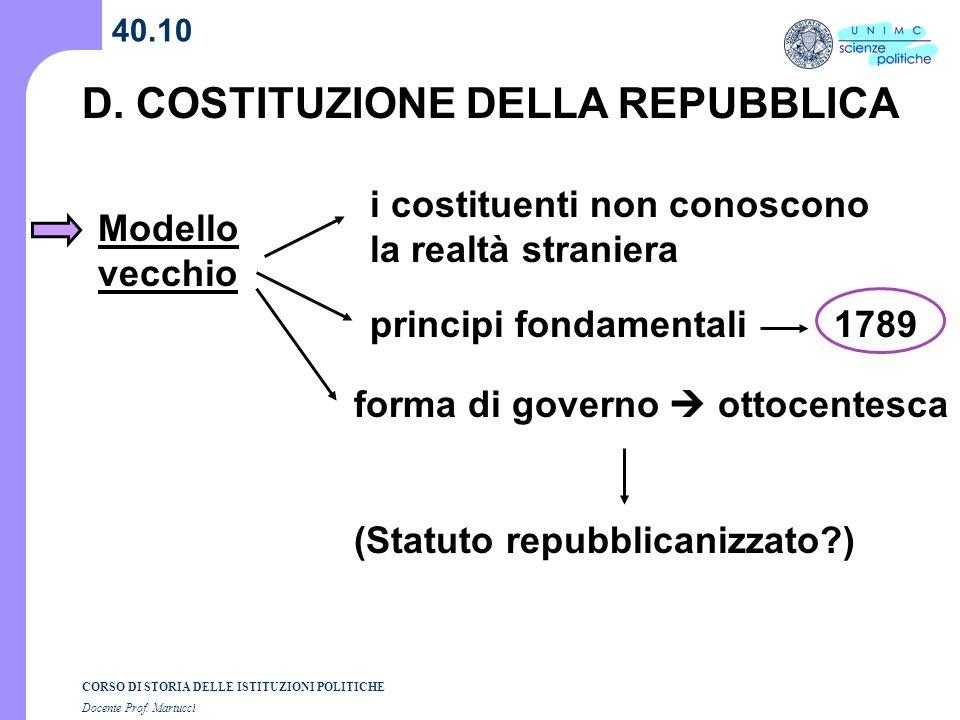 CORSO DI STORIA DELLE ISTITUZIONI POLITICHE Docente Prof. Martucci 40.10 D. COSTITUZIONE DELLA REPUBBLICA Modello vecchio i costituenti non conoscono
