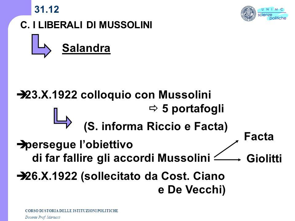 CORSO DI STORIA DELLE ISTITUZIONI POLITICHE Docente Prof. Martucci 31.12 C. I LIBERALI DI MUSSOLINI Salandra 23.X.1922 colloquio con Mussolini 5 porta