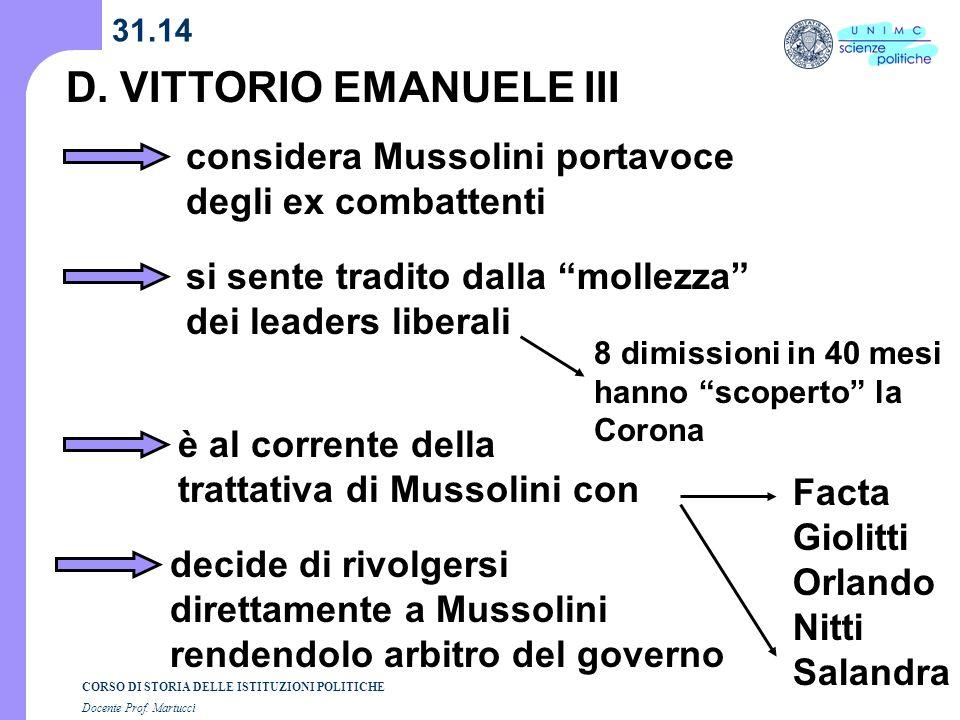 CORSO DI STORIA DELLE ISTITUZIONI POLITICHE Docente Prof. Martucci 31.14 D. VITTORIO EMANUELE III considera Mussolini portavoce degli ex combattenti s