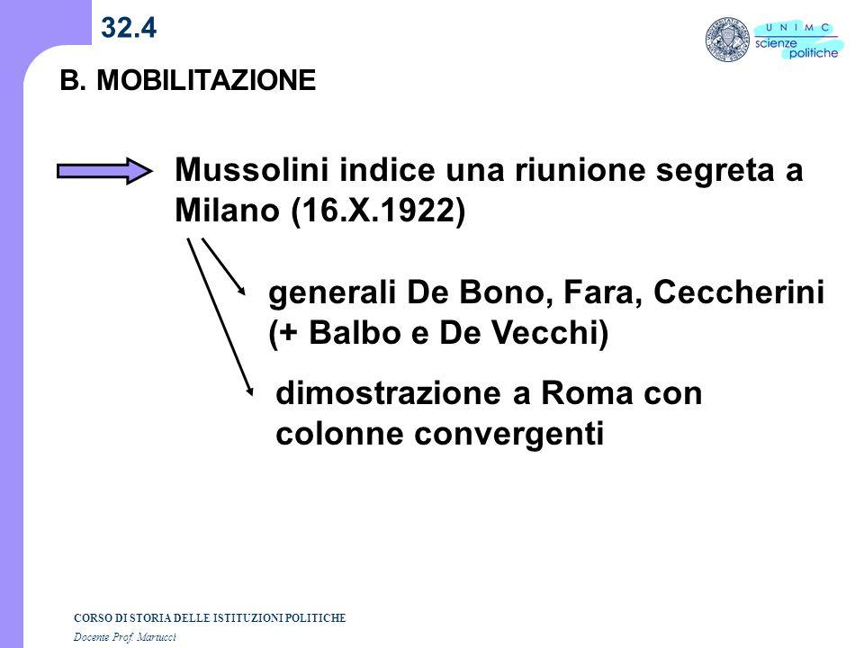 CORSO DI STORIA DELLE ISTITUZIONI POLITICHE Docente Prof. Martucci 32.4 B. MOBILITAZIONE Mussolini indice una riunione segreta a Milano (16.X.1922) ge