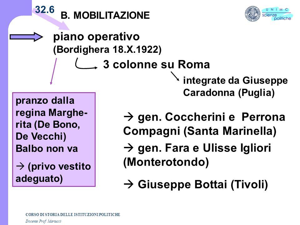 CORSO DI STORIA DELLE ISTITUZIONI POLITICHE Docente Prof. Martucci 32.6 B. MOBILITAZIONE piano operativo (Bordighera 18.X.1922) 3 colonne su Roma gen.