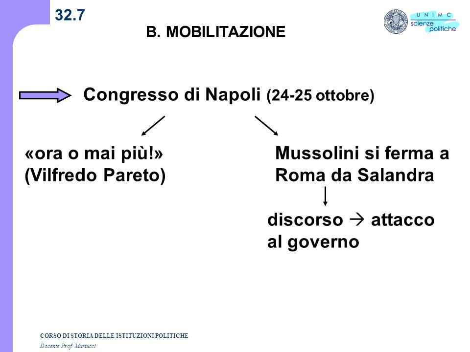 CORSO DI STORIA DELLE ISTITUZIONI POLITICHE Docente Prof. Martucci 32.7 B. MOBILITAZIONE Congresso di Napoli (24-25 ottobre) «ora o mai più!» (Vilfred