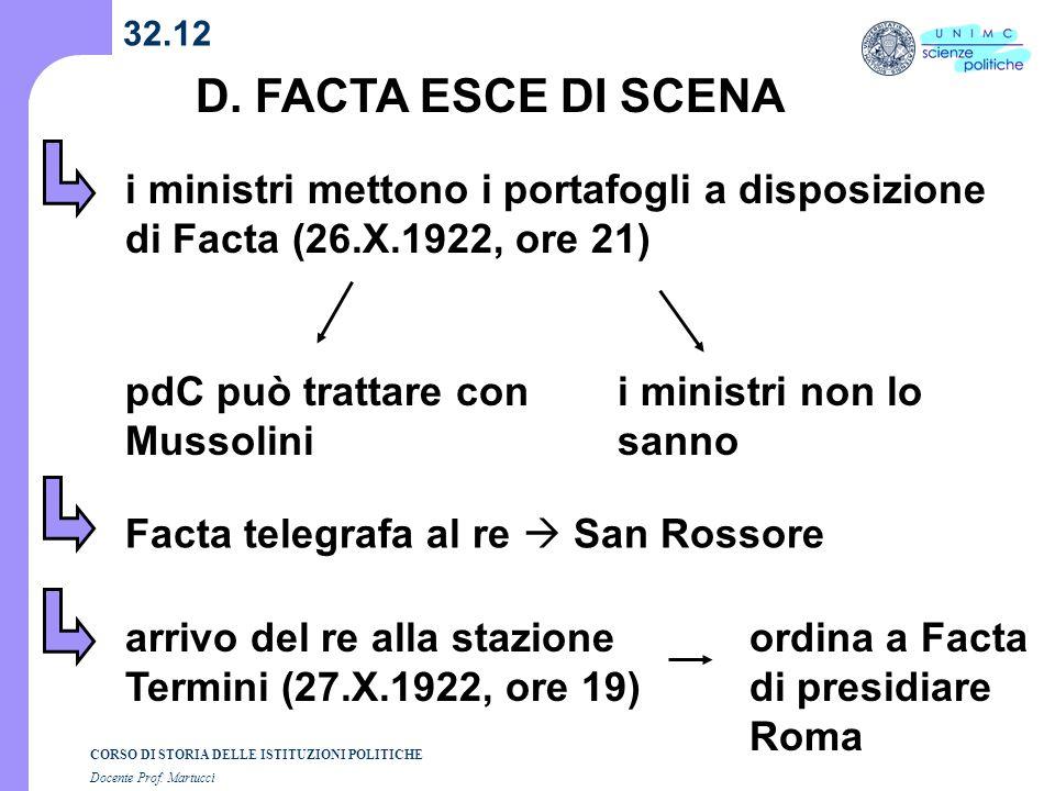 CORSO DI STORIA DELLE ISTITUZIONI POLITICHE Docente Prof. Martucci 32.12 D. FACTA ESCE DI SCENA i ministri mettono i portafogli a disposizione di Fact