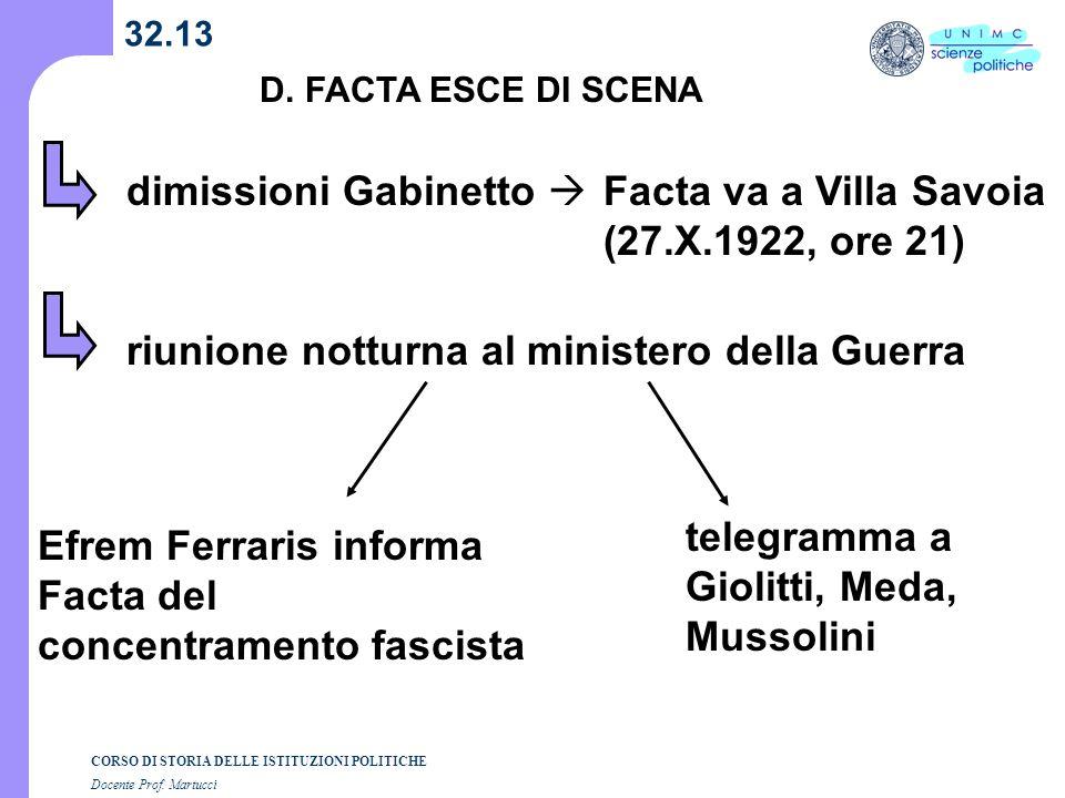 CORSO DI STORIA DELLE ISTITUZIONI POLITICHE Docente Prof. Martucci 32.13 D. FACTA ESCE DI SCENA dimissioni Gabinetto Facta va a Villa Savoia (27.X.192