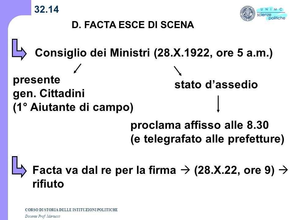 CORSO DI STORIA DELLE ISTITUZIONI POLITICHE Docente Prof. Martucci 32.14 D. FACTA ESCE DI SCENA Consiglio dei Ministri (28.X.1922, ore 5 a.m.) stato d