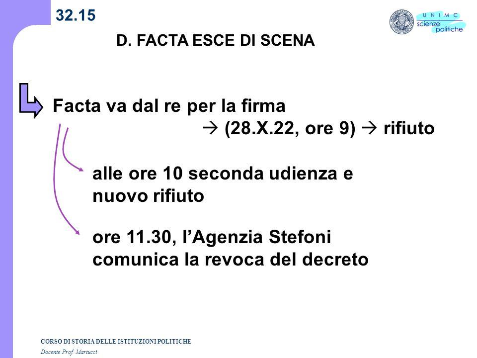 CORSO DI STORIA DELLE ISTITUZIONI POLITICHE Docente Prof. Martucci 32.15 D. FACTA ESCE DI SCENA Facta va dal re per la firma (28.X.22, ore 9) rifiuto