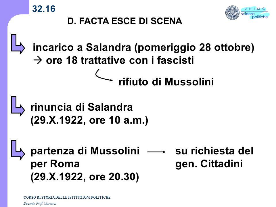 CORSO DI STORIA DELLE ISTITUZIONI POLITICHE Docente Prof. Martucci 32.16 incarico a Salandra (pomeriggio 28 ottobre) ore 18 trattative con i fascisti