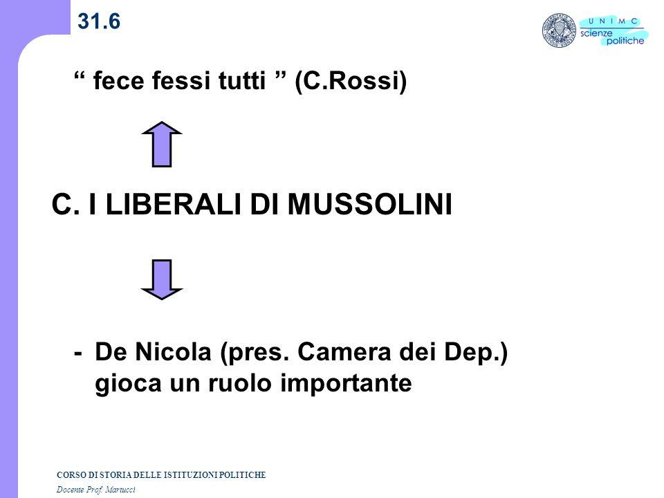 CORSO DI STORIA DELLE ISTITUZIONI POLITICHE Docente Prof. Martucci 31.6 C. I LIBERALI DI MUSSOLINI - De Nicola (pres. Camera dei Dep.) gioca un ruolo