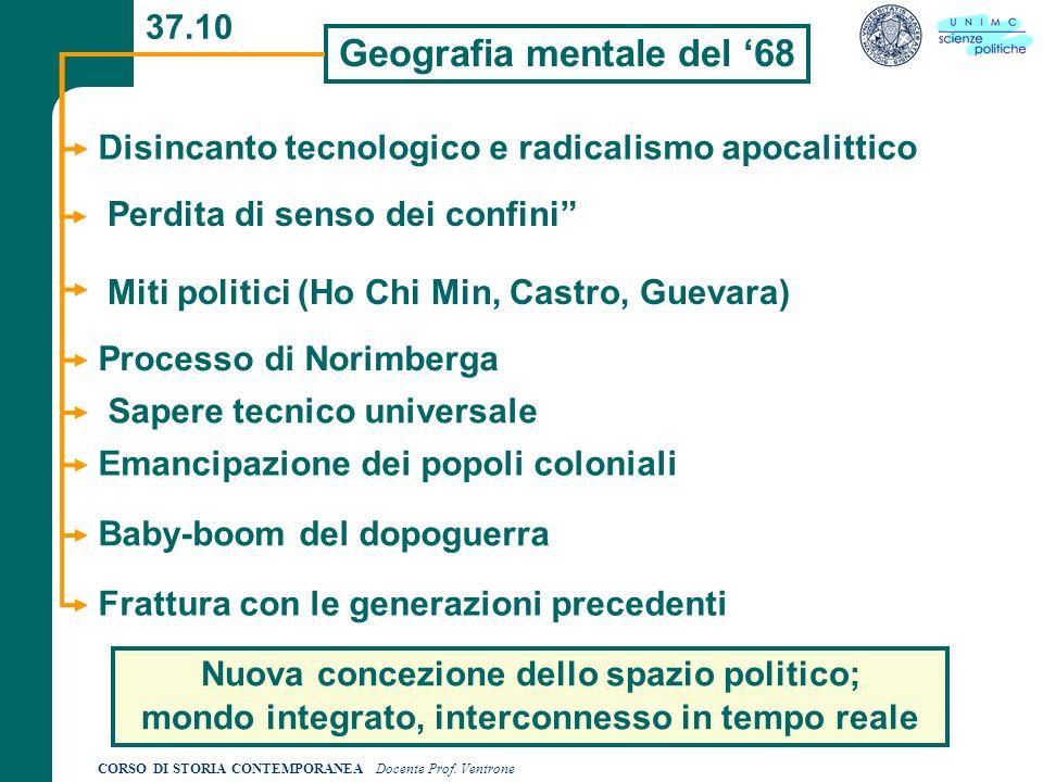 CORSO DI STORIA CONTEMPORANEA Docente Prof. Ventrone 37.10 Geografia mentale del 68 Disincanto tecnologico e radicalismo apocalittico Miti politici (H