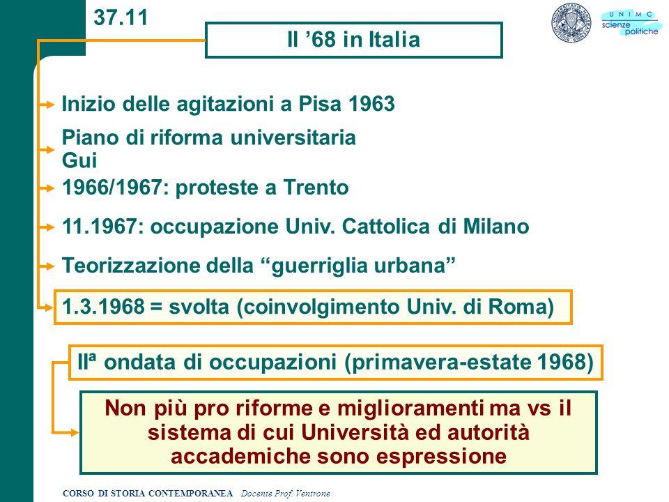 CORSO DI STORIA CONTEMPORANEA Docente Prof. Ventrone 37.11 Il 68 in Italia Inizio delle agitazioni a Pisa 1963 Piano di riforma universitaria Gui 1966