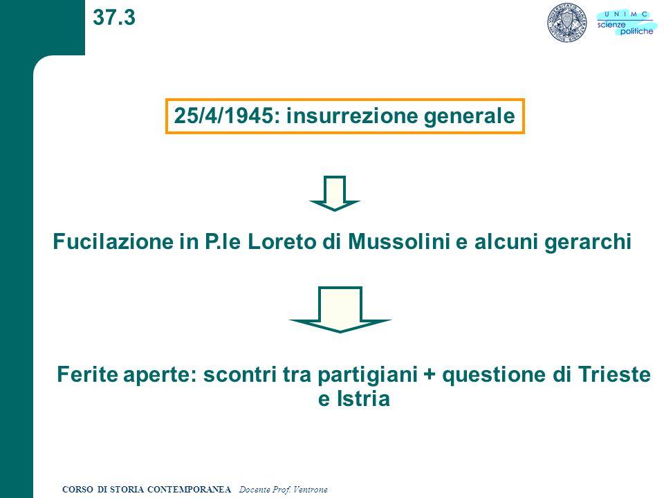 CORSO DI STORIA CONTEMPORANEA Docente Prof. Ventrone 37.3 25/4/1945: insurrezione generale Fucilazione in P.le Loreto di Mussolini e alcuni gerarchi F