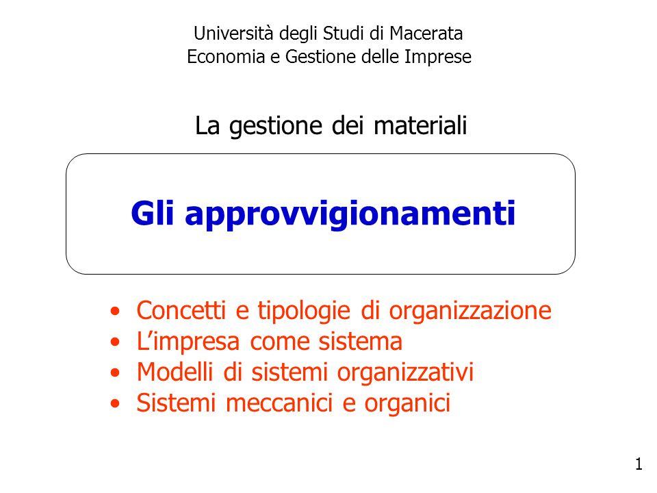1 Gli approvvigionamenti Università degli Studi di Macerata Economia e Gestione delle Imprese La gestione dei materiali Concetti e tipologie di organi