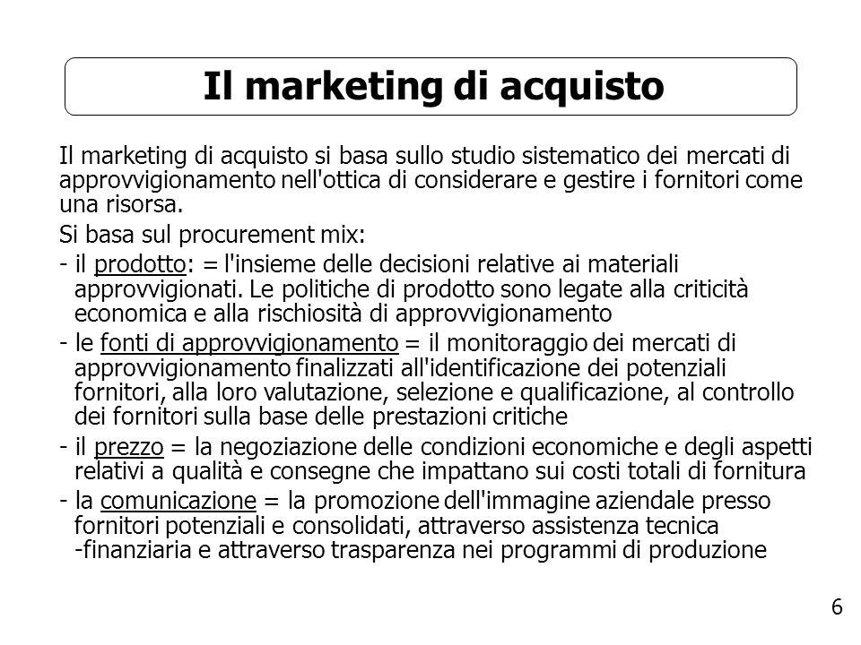 6 Il marketing di acquisto Il marketing di acquisto si basa sullo studio sistematico dei mercati di approvvigionamento nell'ottica di considerare e ge
