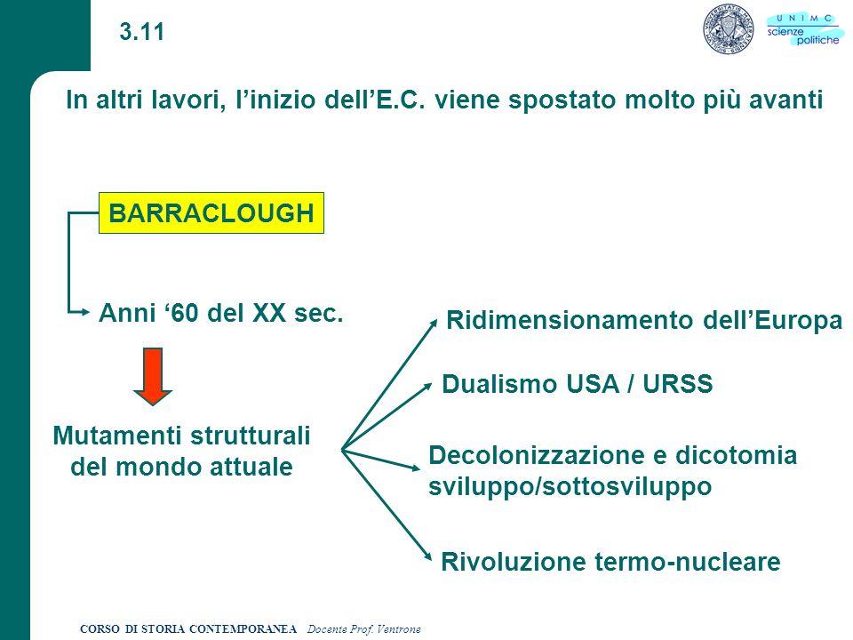 CORSO DI STORIA CONTEMPORANEA Docente Prof.Ventrone 3.11 In altri lavori, linizio dellE.C.