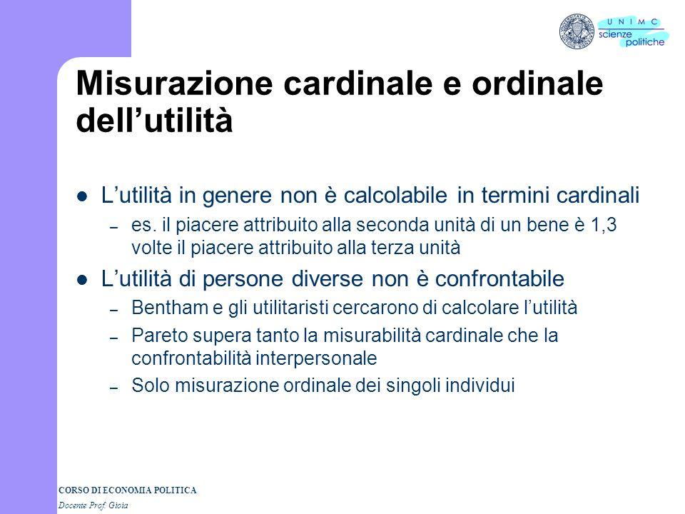 CORSO DI ECONOMIA POLITICA 3° parte Docente Prof. GIOIA Dietro alla curva di domanda I Semestre a.a. 2004-05