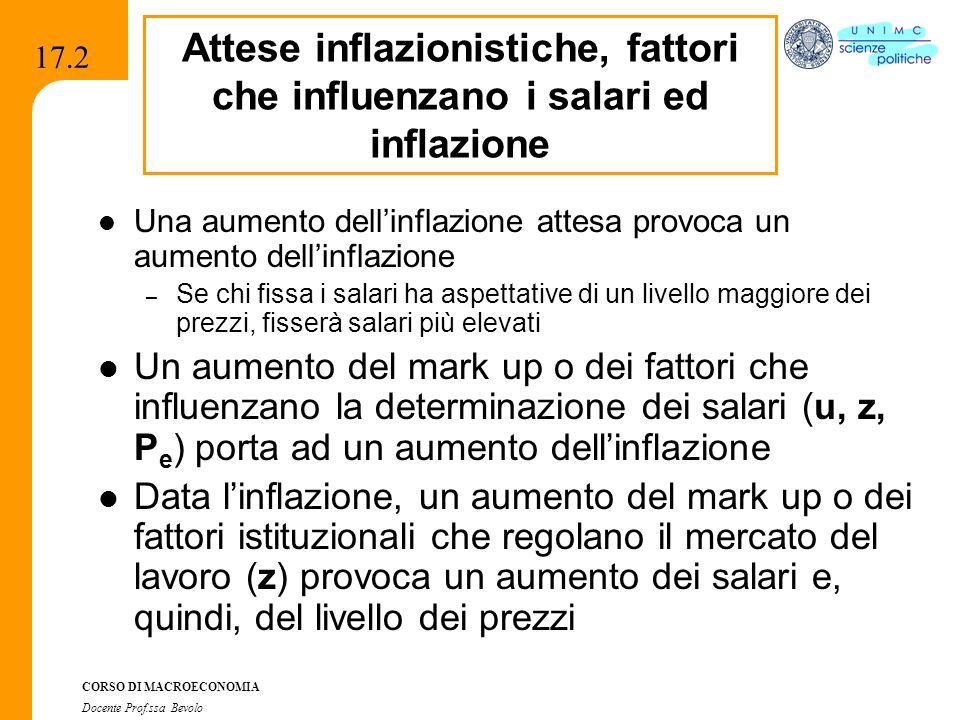 CORSO DI MACROECONOMIA Docente Prof.ssa Bevolo 17.2 Una aumento dellinflazione attesa provoca un aumento dellinflazione – Se chi fissa i salari ha asp