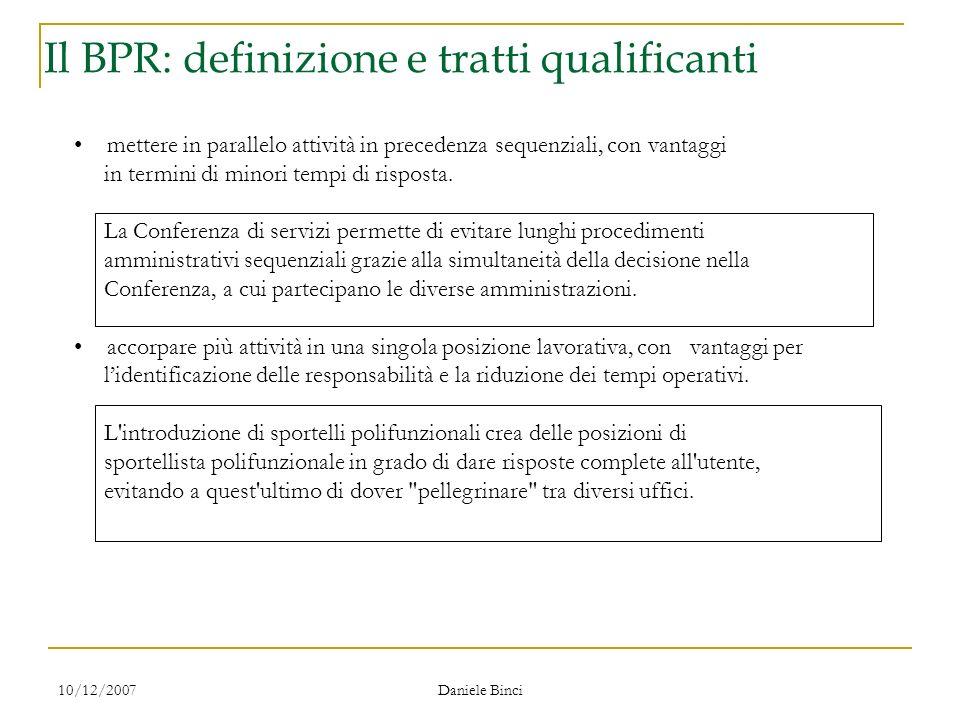 10/12/2007 Daniele Binci Il ridisegno dei processi mettere in parallelo attività in precedenza sequenziali, con vantaggi in termini di minori tempi di