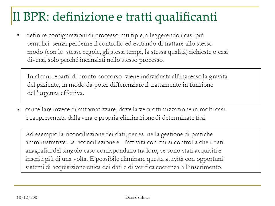 10/12/2007 Daniele Binci Il ridisegno dei processi Il ridisegno dei processi amministrativi : interventi definire configurazioni di processo multiple,
