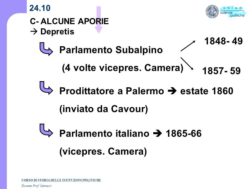 CORSO DI STORIA DELLE ISTITUZIONI POLITICHE Docente Prof. Martucci 24.10 C- ALCUNE APORIE Depretis Parlamento Subalpino (4 volte vicepres. Camera) 184