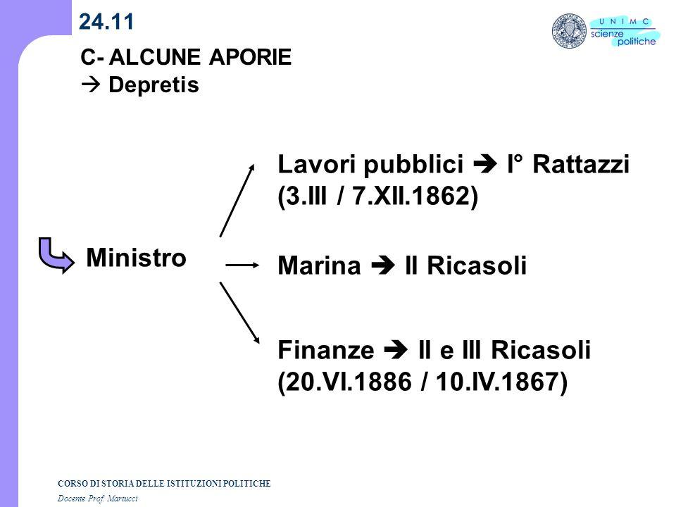 CORSO DI STORIA DELLE ISTITUZIONI POLITICHE Docente Prof. Martucci 24.11 Ministro Lavori pubblici I° Rattazzi (3.III / 7.XII.1862) Marina II Ricasoli