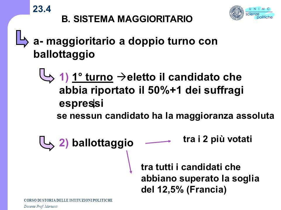 CORSO DI STORIA DELLE ISTITUZIONI POLITICHE Docente Prof. Martucci 23.4 B. SISTEMA MAGGIORITARIO a- maggioritario a doppio turno con ballottaggio 1) 1