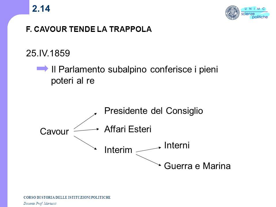 CORSO DI STORIA DELLE ISTITUZIONI POLITICHE Docente Prof. Martucci 2.13 Vienna F. CAVOUR TENDE LA TRAPPOLA 21.IV.1859 respinge la mediazione 23.IV.185
