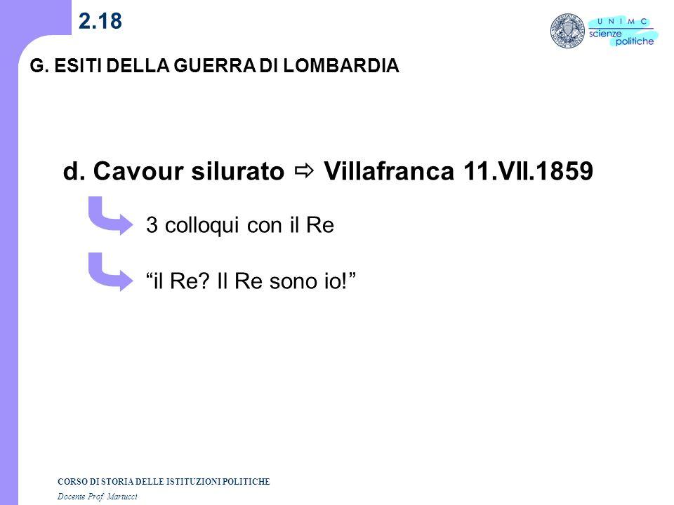 CORSO DI STORIA DELLE ISTITUZIONI POLITICHE Docente Prof. Martucci 2.17 G. ESITI DELLA GUERRA DI LOMBARDIA c. Destabilizzazione Ducati 27.IV.1859 Leop