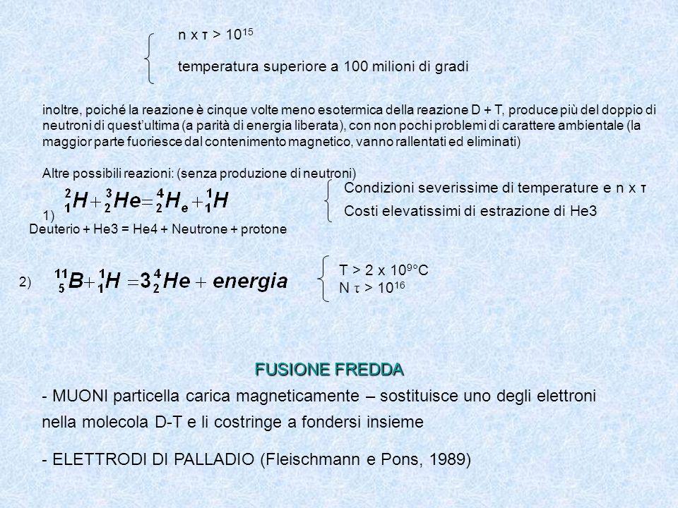 FUSIONE FREDDA - MUONI particella carica magneticamente – sostituisce uno degli elettroni nella molecola D-T e li costringe a fondersi insieme - ELETTRODI DI PALLADIO (Fleischmann e Pons, 1989) n x τ > 10 15 temperatura superiore a 100 milioni di gradi inoltre, poiché la reazione è cinque volte meno esotermica della reazione D + T, produce più del doppio di neutroni di questultima (a parità di energia liberata), con non pochi problemi di carattere ambientale (la maggior parte fuoriesce dal contenimento magnetico, vanno rallentati ed eliminati) Altre possibili reazioni: (senza produzione di neutroni) 1) Condizioni severissime di temperature e n x τ Costi elevatissimi di estrazione di He3 Deuterio + He3 = He4 + Neutrone + protone 2) T > 2 x 10 9 °C N τ > 10 16