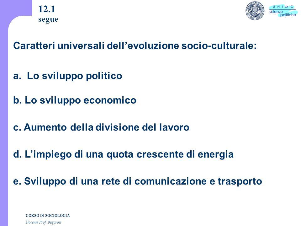 CORSO DI SOCIOLOGIA Docente Prof. Bugarini 12.1 segue a.