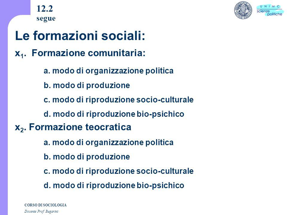 CORSO DI SOCIOLOGIA Docente Prof. Bugarini 12.2 segue x 1.
