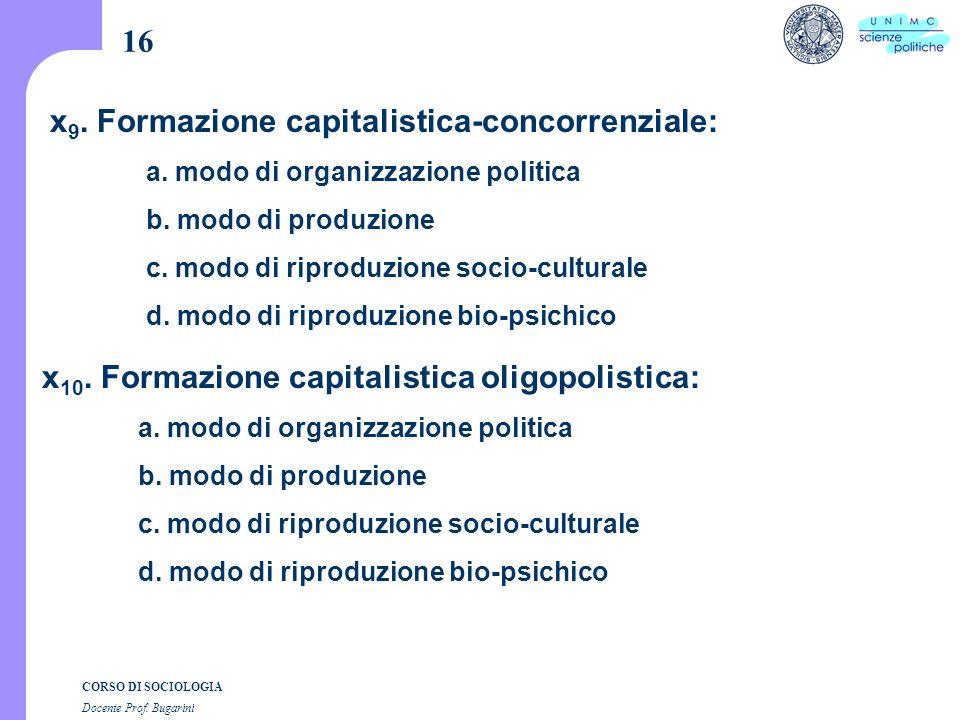 CORSO DI SOCIOLOGIA Docente Prof. Bugarini x 9. Formazione capitalistica-concorrenziale: a.