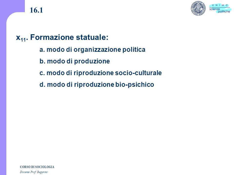 CORSO DI SOCIOLOGIA Docente Prof. Bugarini x 11. Formazione statuale: a.