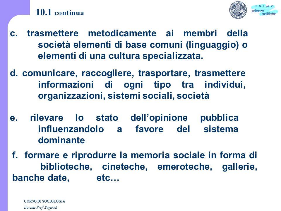 CORSO DI SOCIOLOGIA Docente Prof. Bugarini 10.1 continua f.
