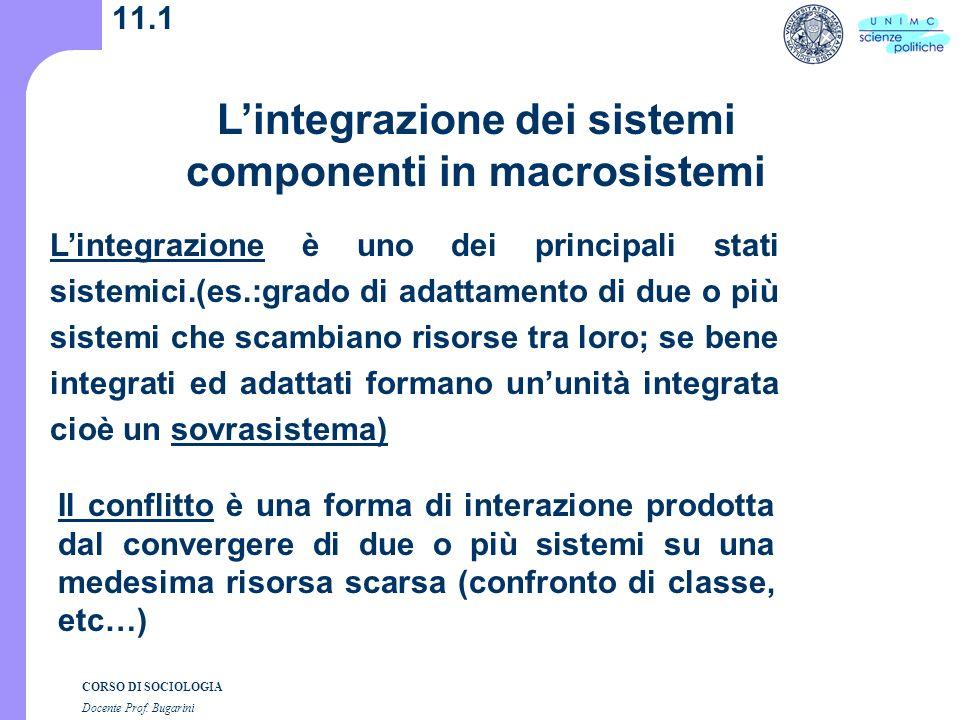CORSO DI SOCIOLOGIA Docente Prof.Bugarini 11.2 1.Lintegrazione intergenerica e 2.