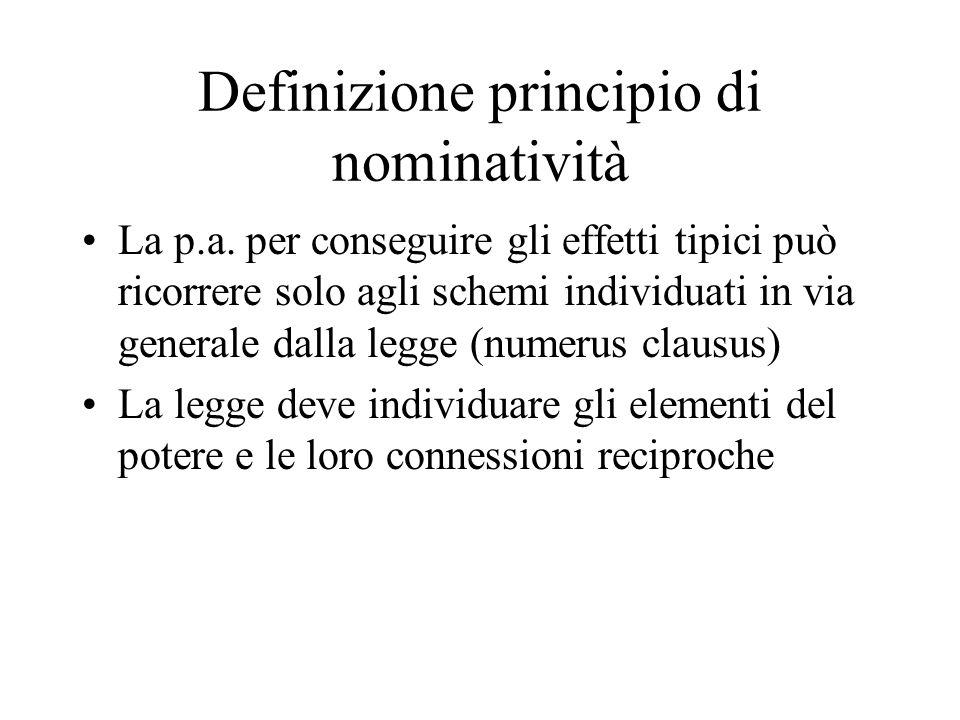 Definizione principio di nominatività La p.a. per conseguire gli effetti tipici può ricorrere solo agli schemi individuati in via generale dalla legge