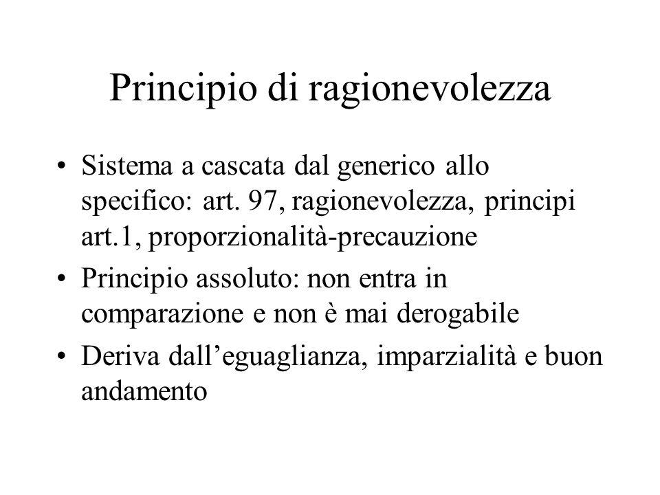 Principio di ragionevolezza Sistema a cascata dal generico allo specifico: art. 97, ragionevolezza, principi art.1, proporzionalità-precauzione Princi