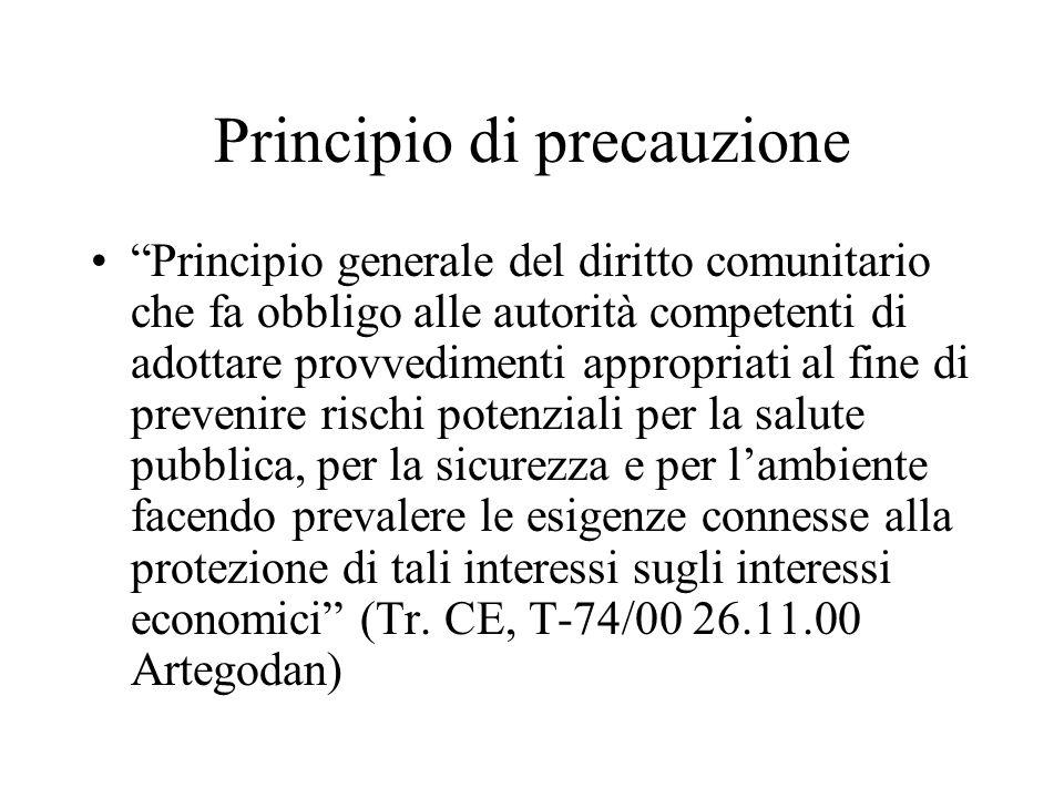 Principio di precauzione Principio generale del diritto comunitario che fa obbligo alle autorità competenti di adottare provvedimenti appropriati al f