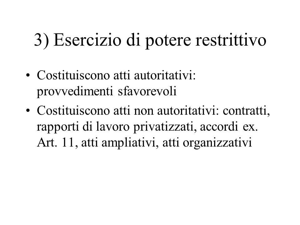 3) Esercizio di potere restrittivo Costituiscono atti autoritativi: provvedimenti sfavorevoli Costituiscono atti non autoritativi: contratti, rapporti